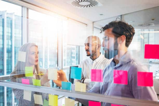 Planning with sticky notes and transparent board