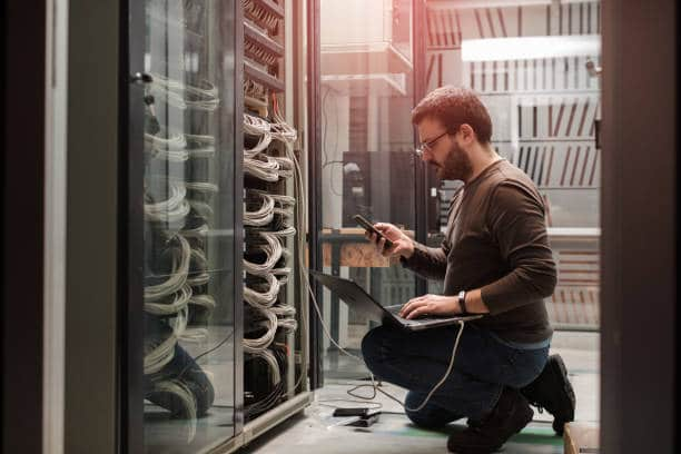 Man working with server